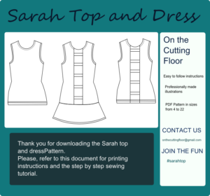 sarah top and dress technical drawing