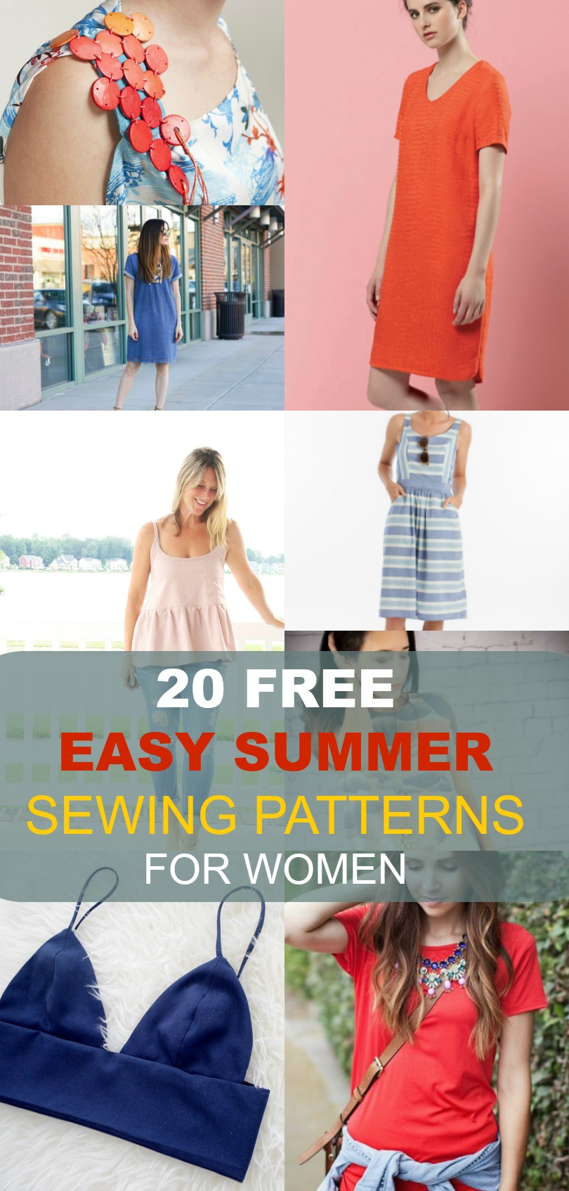 20 Free 12 Granny Square Crochet Patterns: FREE SEWING PATTERNS: 20 Easy Summer Patterns For Women