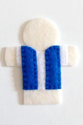 circus finger puppet - blue vest