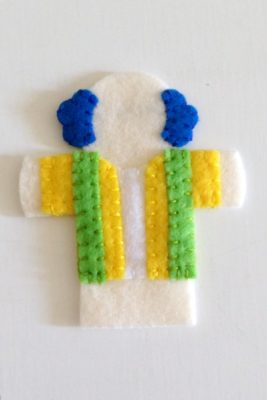 circus finger puppet - green stripes