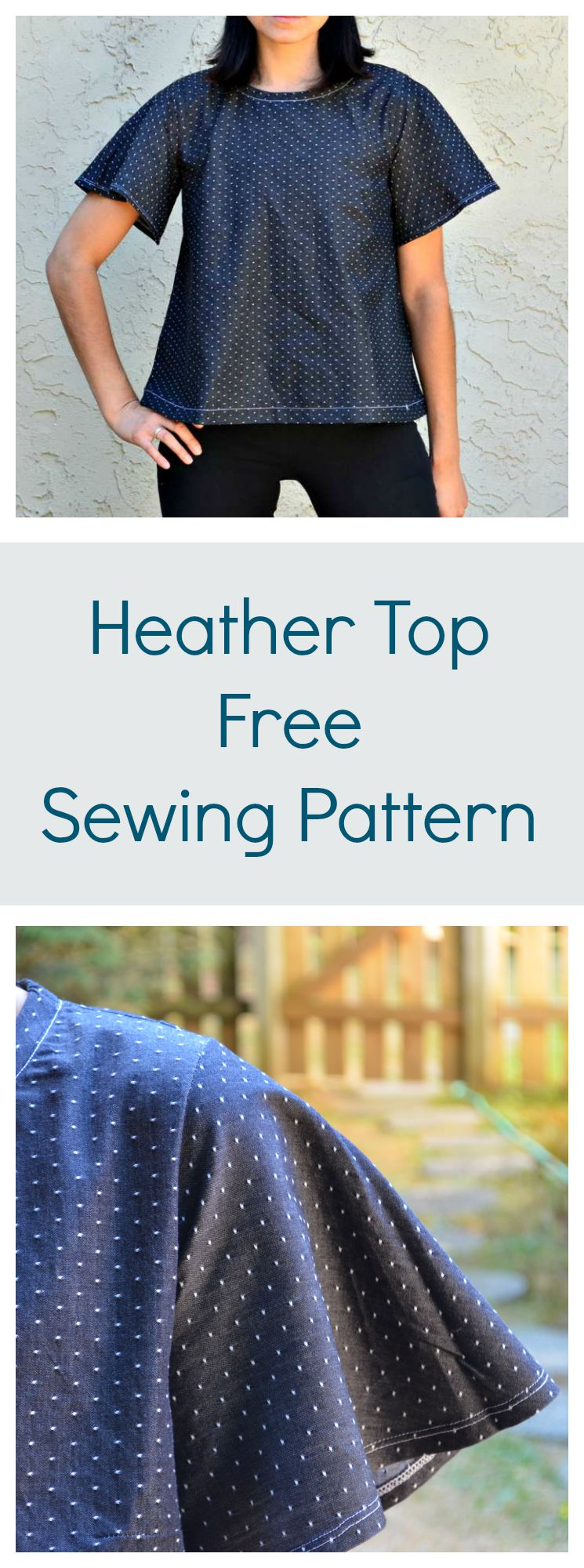 free top pattern, free sewing pattern, heather top pattern, flared top pattern