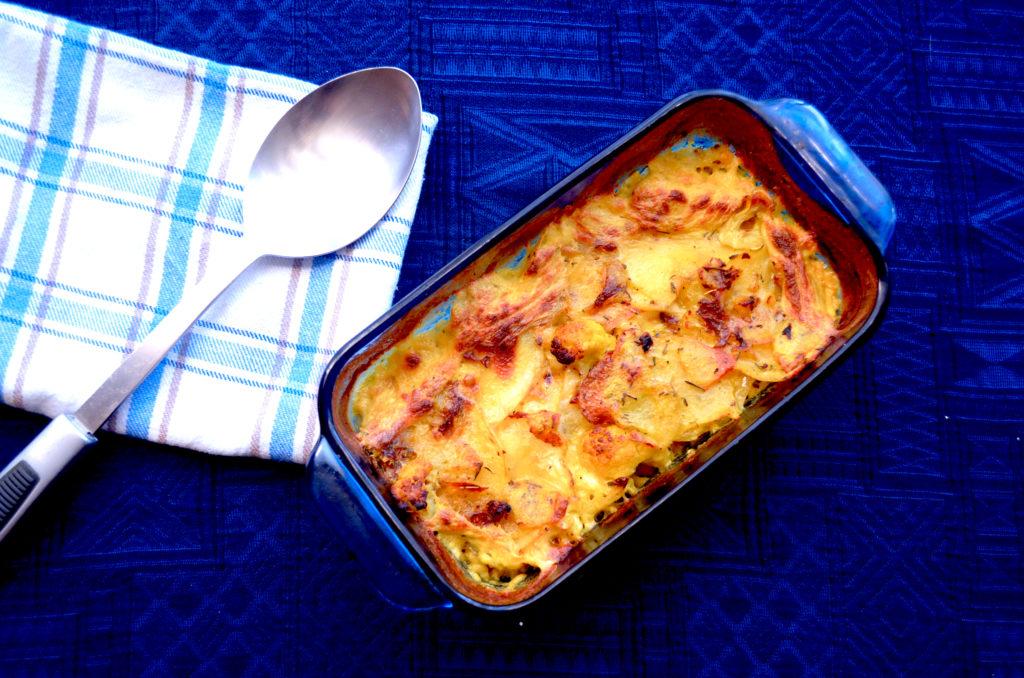 Crispy Cauliflower and Potato Gratin with Creamy Turmeric Sauce