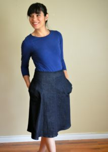 A-Line skirt Free Sewing Pattern: Learn how to make an easy DIY A-line skirt with a step by step sewing tutorial and easy printable PDF sewing pattern