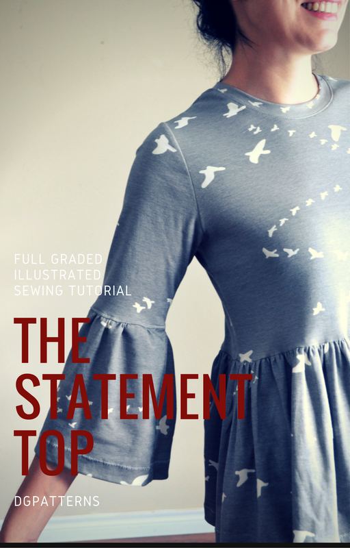 FULL Printable Sewing Pattern: The Statement Sleeves Top