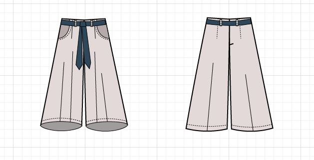 Culottes Technical Drawing On The Cutting Floor Printable Pdf