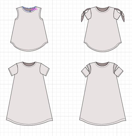 olvie top and dress technical drawing - On the Cutting Floor ...