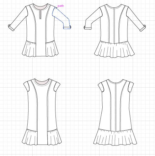 luise tunic and dress technical drawing - On the Cutting Floor ...