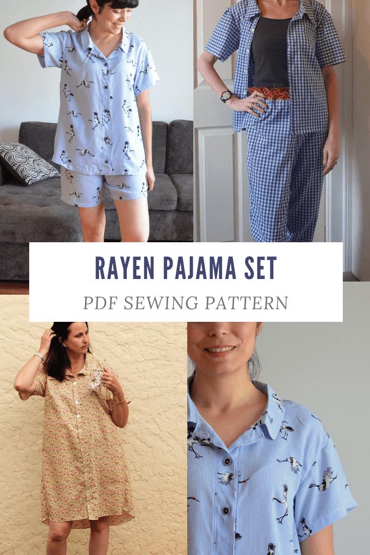NEW PATTERN FOR SALE:  The Rayen Pajama Set PDF sewing pattern
