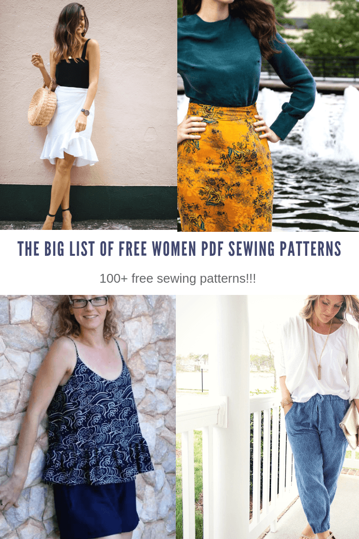 THE BIG LIST OF FREE WOMEN PDF SEWING PATTERNS for BEGINNERS AND EASY PROJECT TUTORIALS
