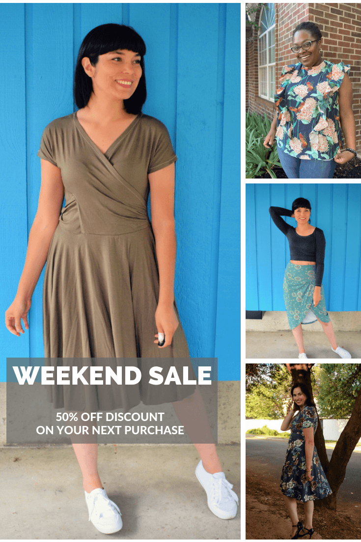 STORE WIDE SALE: Purchase any fabric and PDF sewing pattern with a 50% OFF discount